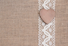 Shabby Rustic Background With Wooden Heart