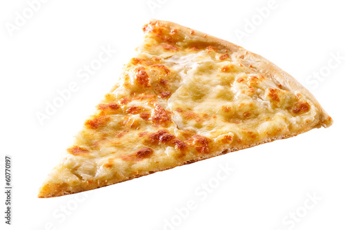 Fototapeta slice of cheese pizza close-up isolated on white background
