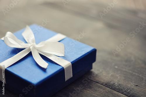 Photo  Blue elegant gift box