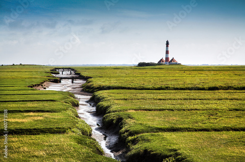 Photo sur Toile La Mer du Nord Beautiful landscape with lighthouse at Nordsee, Germany