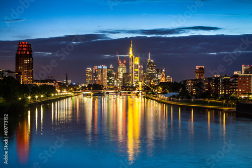 Photo Stands Frankfurt am Main skyline at night, Germany
