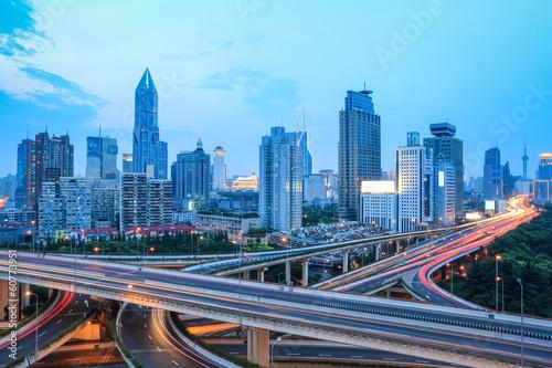 Fototapety, obrazy: shanghai skyline with traffic at dusk