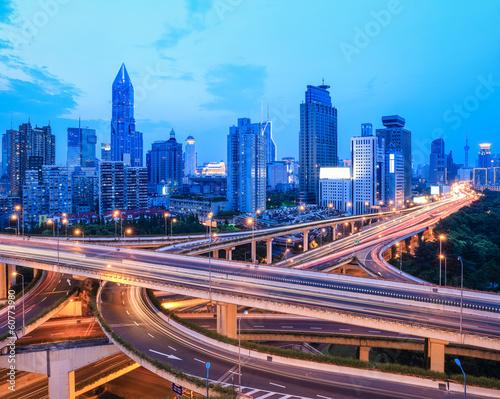 Fototapety, obrazy: highway traffic at dusk