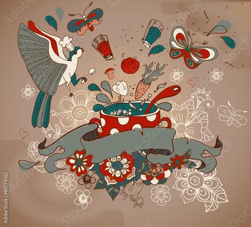 Obrazy do kuchni   piekna-kreskowka-z-warzywami-patelni-ptakow-i-kwiatow