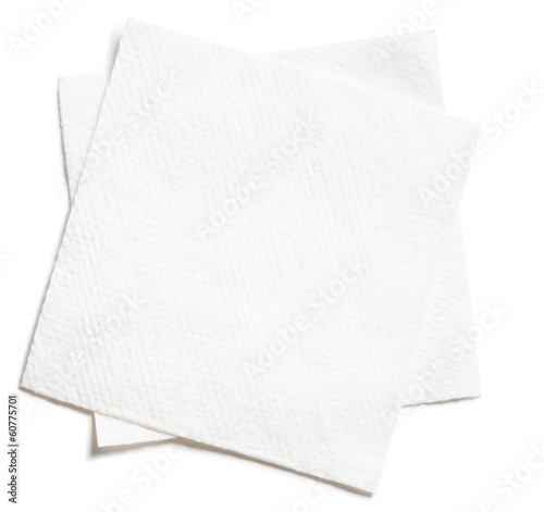 Fotografie, Obraz two white square paper napkins isolated