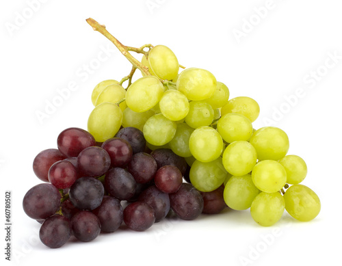 Fotografia, Obraz  Red and green grape bunch isolated on white background