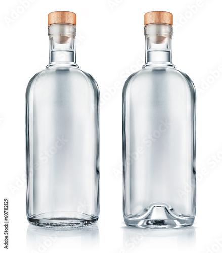 Vodka bottle with wooden cap isolated Fototapet