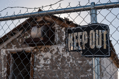 Keep Out Sign, Abandoned Building Poster