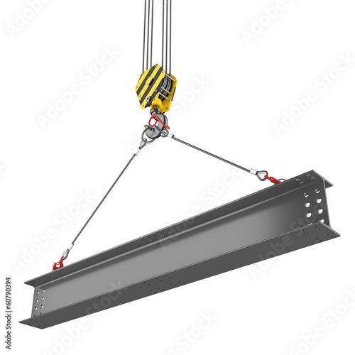 Crane hook lifting of steel beam Wall mural