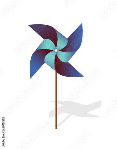Fotografia, Obraz  Blue pinwheel 3d  vector