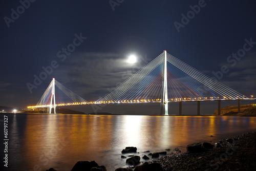 Canvas Prints Bridge Bridge Russky in Vladivostok at moonlit night. Russia