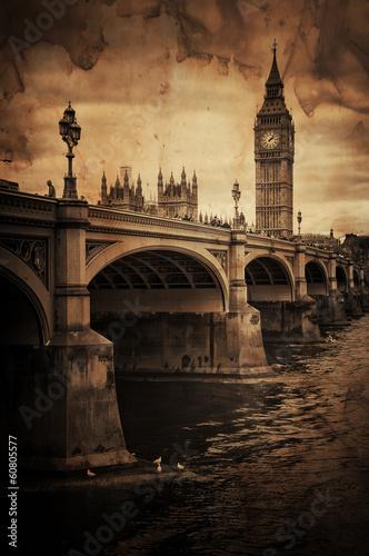 Fotografia  Aged Vintage Retro Picture of Big Ben in London