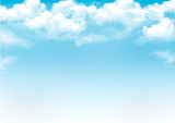 Fototapeta Na sufit - Blue sky with clouds. Vector background