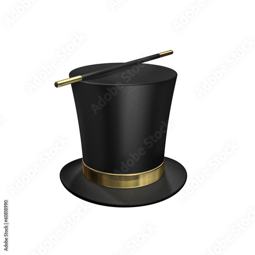 Zylinder -  Chapeau Claque - Zauberstab