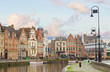 canvas print picture - historical Graslei harbor , Ghent