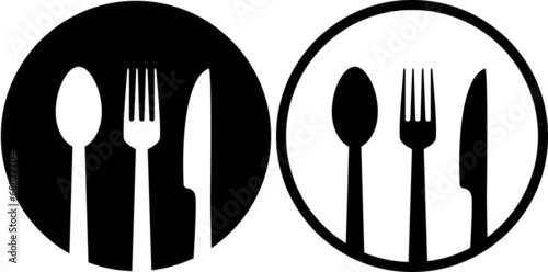 Fotomural sign with spoon, fork and knife