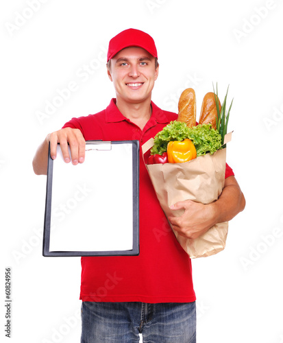 Keuken foto achterwand Food delivery courier showing the tablet