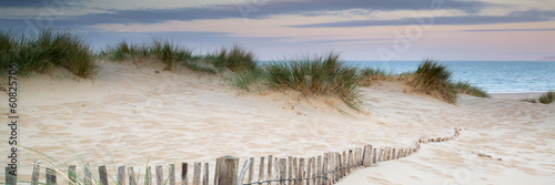 Tuinposter Landschap Panorama landscape of sand dunes system on beach at sunrise