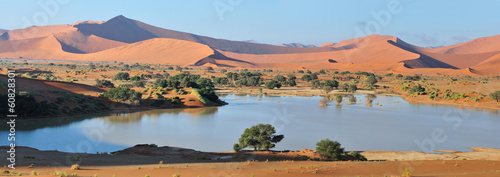Photo sur Aluminium Desert de sable Deadvlei and Sossusvlei panorama 3