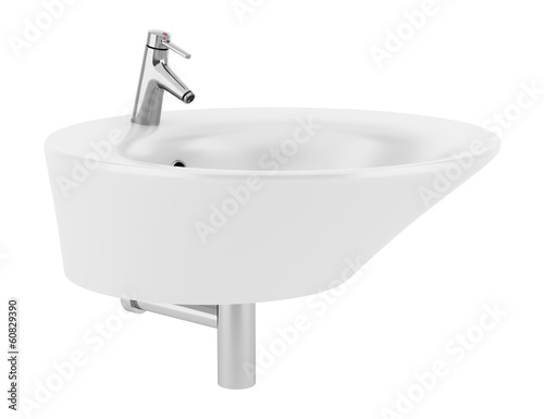 Fotografía  ceramic bathroom sink isolated on white background