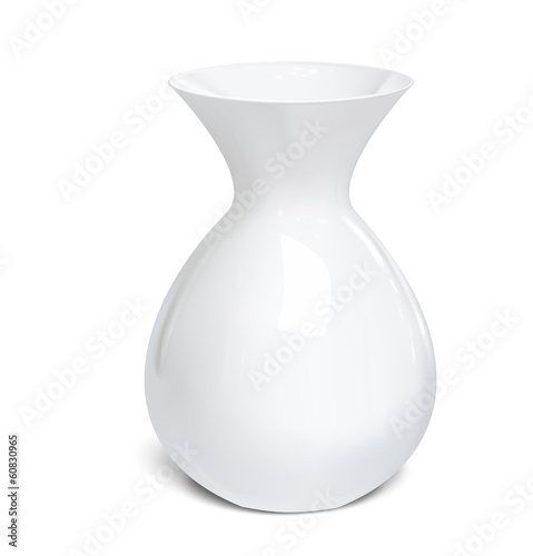 Fotografie, Obraz  White vase isolated on a white background. Vector illustration