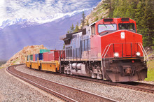 Freight Train In Canadian Rock...