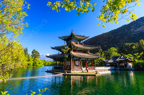 Lijiang old town scene-Black Dragon Pool Park Poster