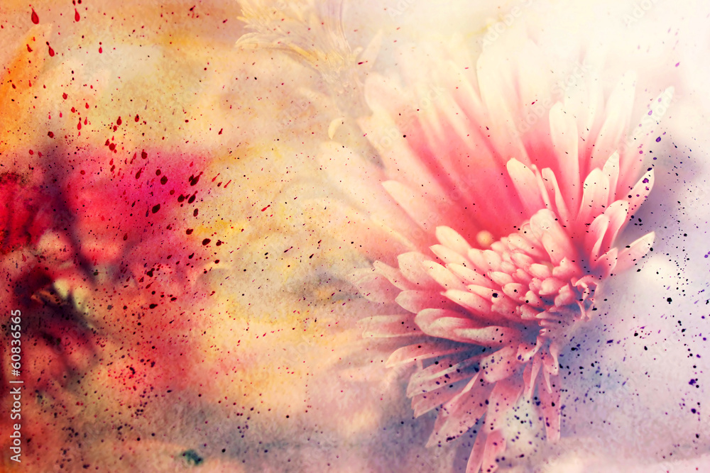 watercolor artwork with beautiful red flower