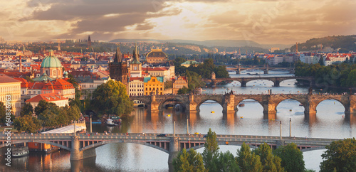 Prague, view of the Vltava River and bridges Canvas Print