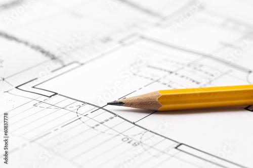 Fotomural pencil on blueprint background for sketching