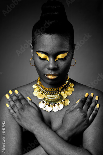 Acrylic Prints African tribal in gold