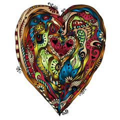 Original drawing doddle heart.