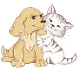 Cat and Dog. Greeting card for Valentines Day
