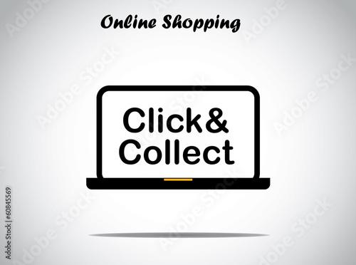 Fotografía  online shopping design concept click and collect text laptop