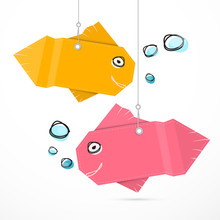 Paper Fish Hang On Strings Wit...