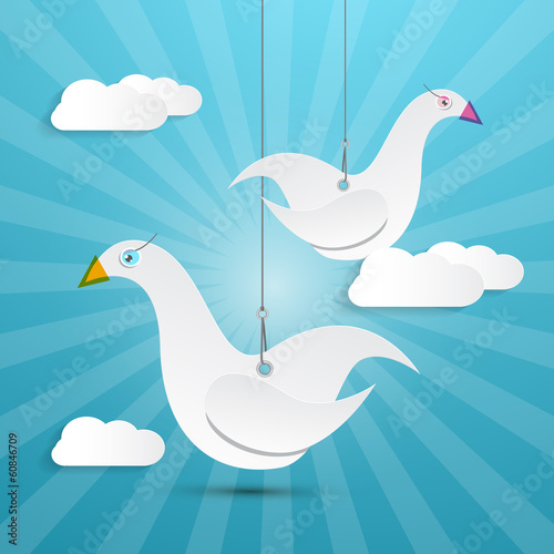 Vector Paper Birds Hang on Rope