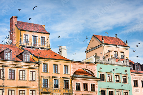Photo Stands Old Town buildings in Warsaw , Poland