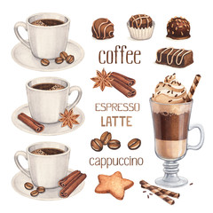 Fototapeta Kawa Watercolor illustrations of coffee cup and chocolate sweets