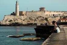 El Malecon With Fishing Men, La Havana