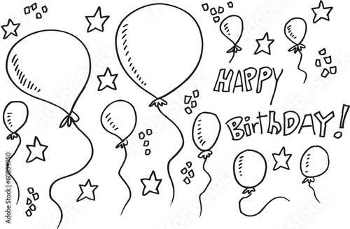 Poster Cartoon draw Balloon Party Doodle Illustration Vector Set