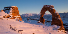 Sunset At Delicate Arch In Winter At Arches National Park