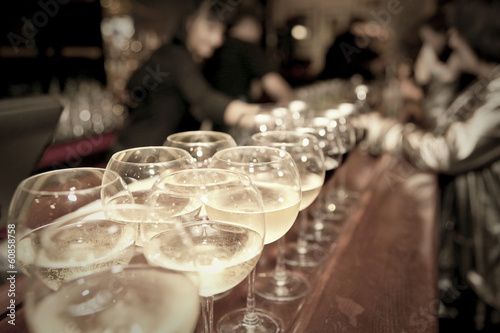 Wineglasses on bar counter