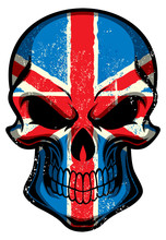 UK Flag Painted On A Skull