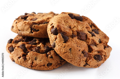 Staande foto Koekjes Chocolate chip cookie on white