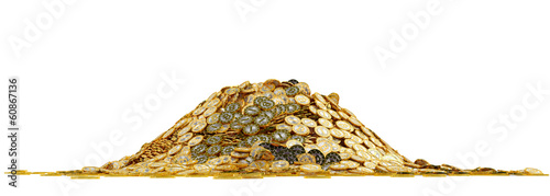 Fotografie, Obraz  Big pile of golden Bitcoins - isolated on white
