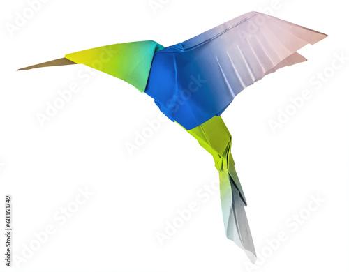 Origami flying hummingbird Poster