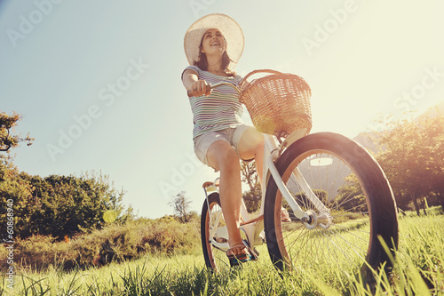 Canvas Prints Cycling Bicycle woman