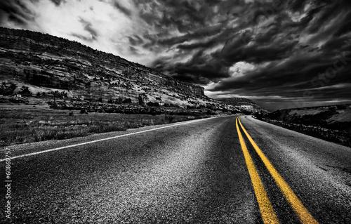 Gris traffic Rural road, USA