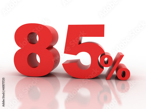 Fotografia  3d rendering of a 85 percent discount in red letters on a white
