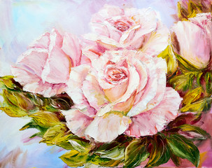 Fototapeta Róże Beautiful Roses, oil painting on canvas